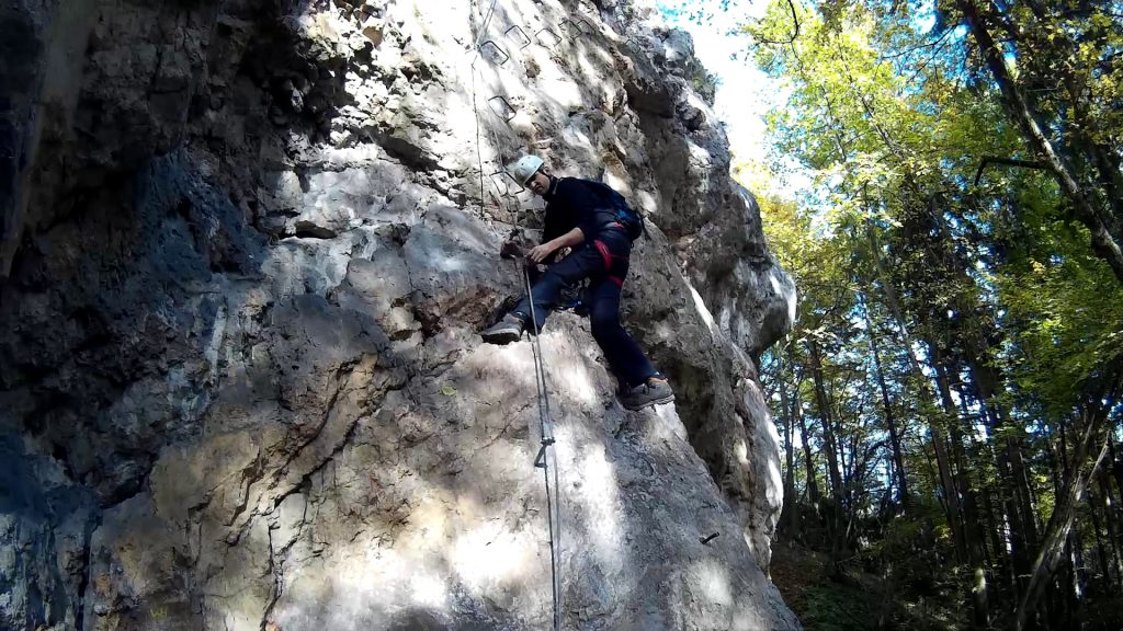 Bernhard climbing up