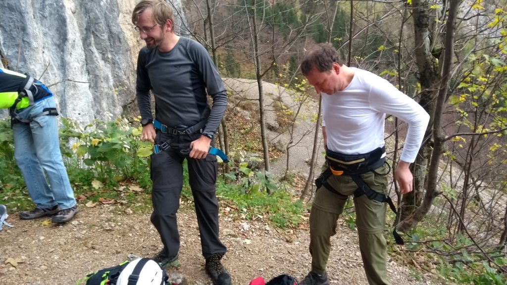 Stefan and Hannes are putting on the Via Ferrata set