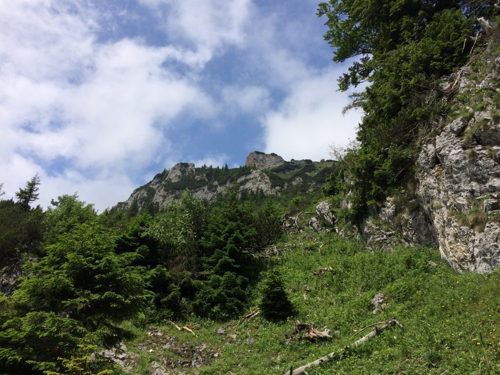 View upwards to Rax plateau