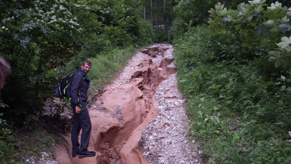 Trail is damaged by recent hard rain
