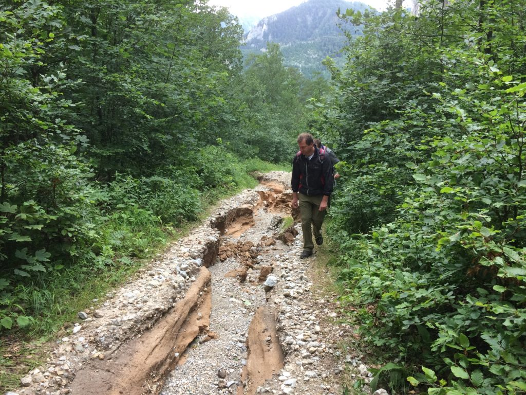Hannes inspecting the damaged trail
