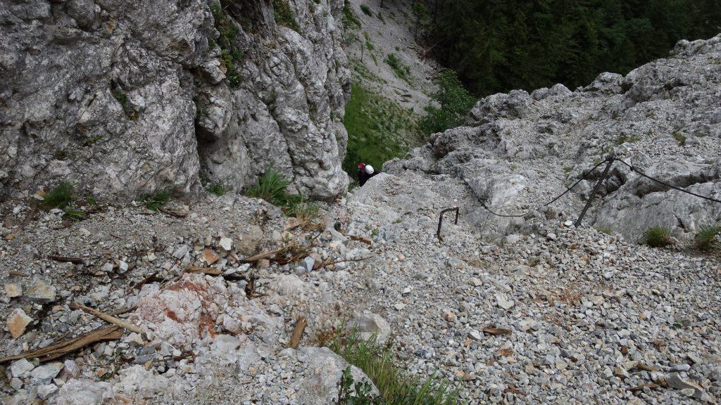 Climbing on the via ferrata