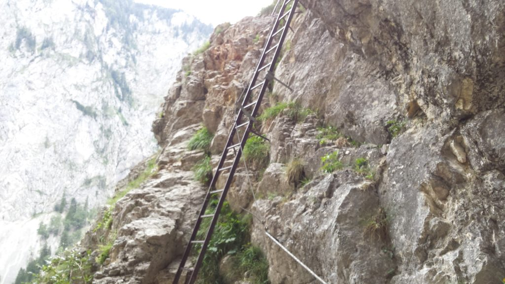 Iron ladder leading to the Teufelsbadstube (cave)