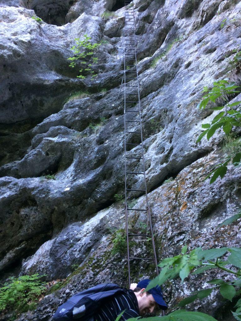The crux of the Rudolf Decker Steig: the long iron ladder