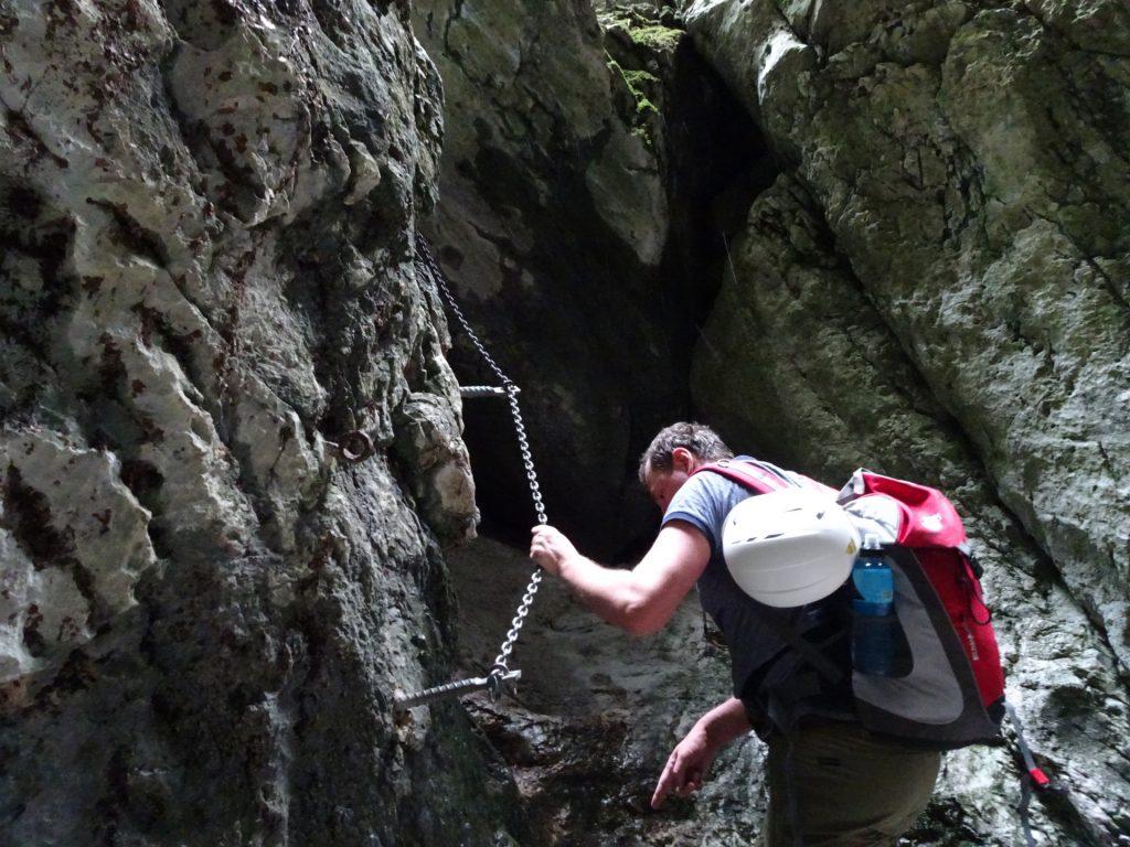 Herbert climbing inside the gorge