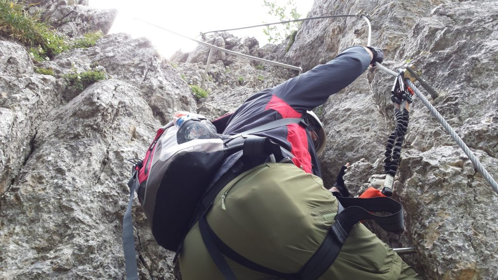 Hannes climbing up the via ferrata