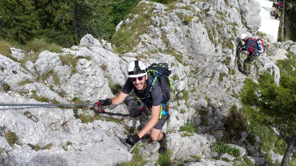 Stefan climbing down on the via ferrata