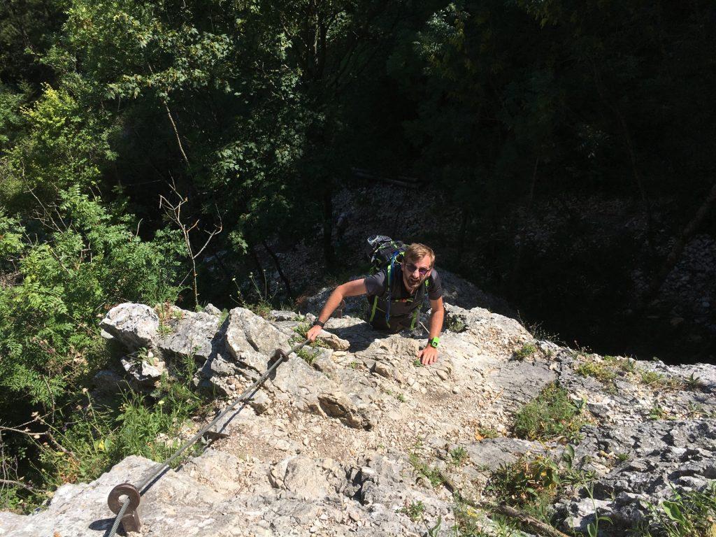 Stefan descending on Leiterlsteig