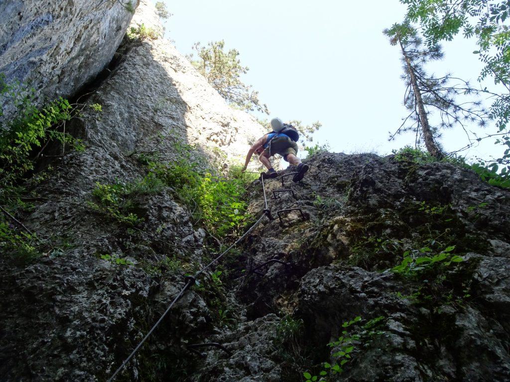 Hannes descending on Leiterlsteig