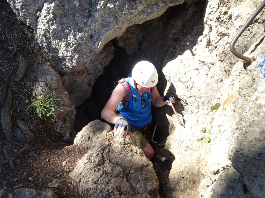 Hannes exiting the Frauenlucke