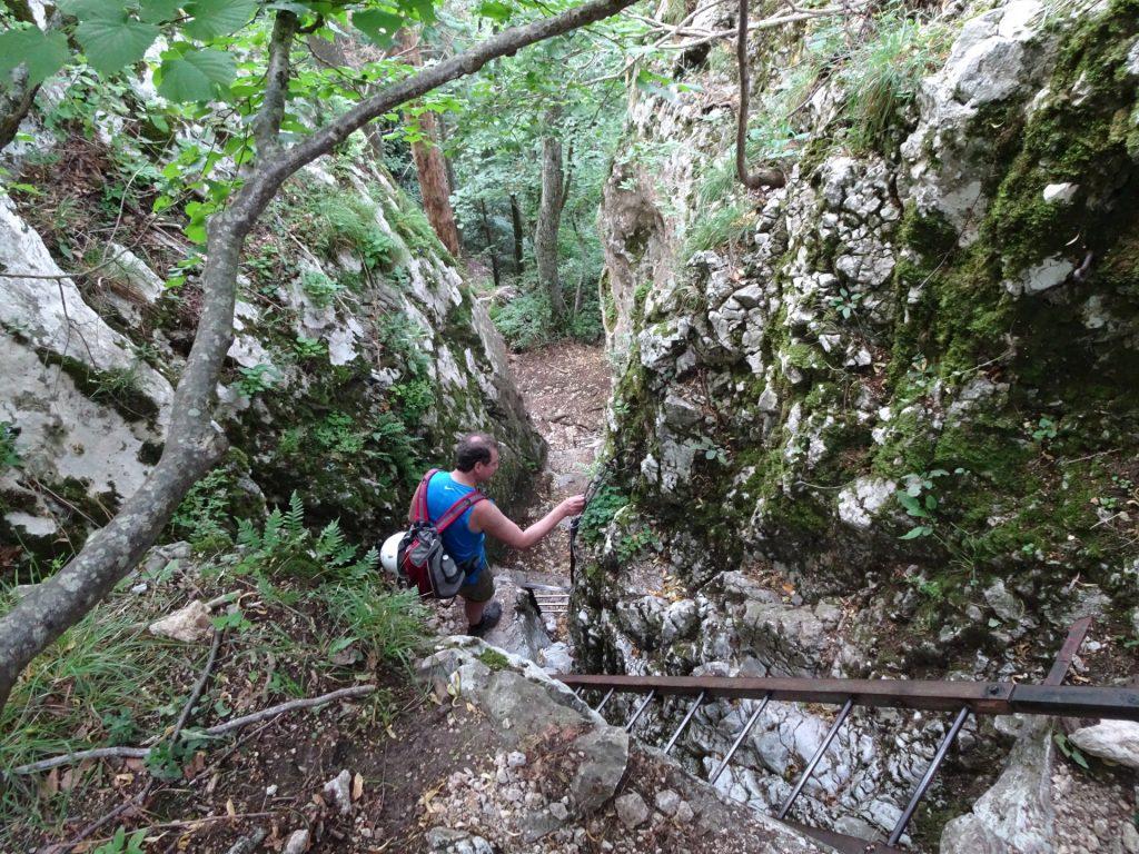 Hannes descending via Drobilsteig