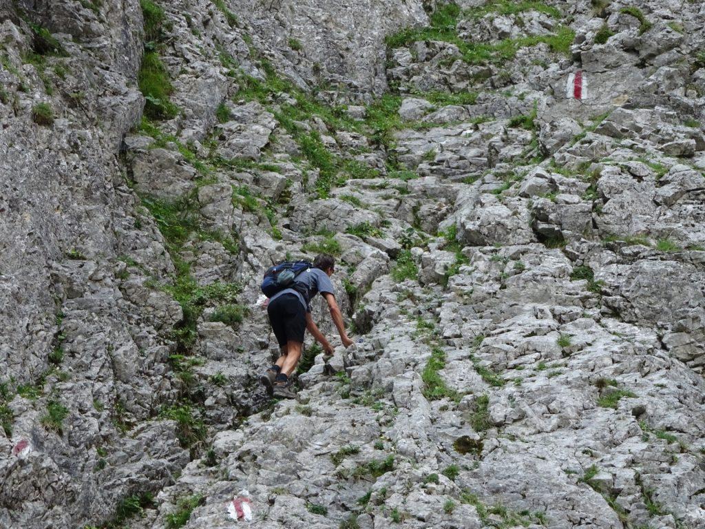 Bernhard climbing towards the via ferrata entrance