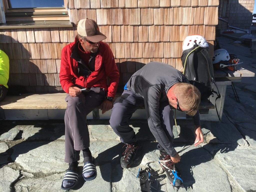 Testing the crampons