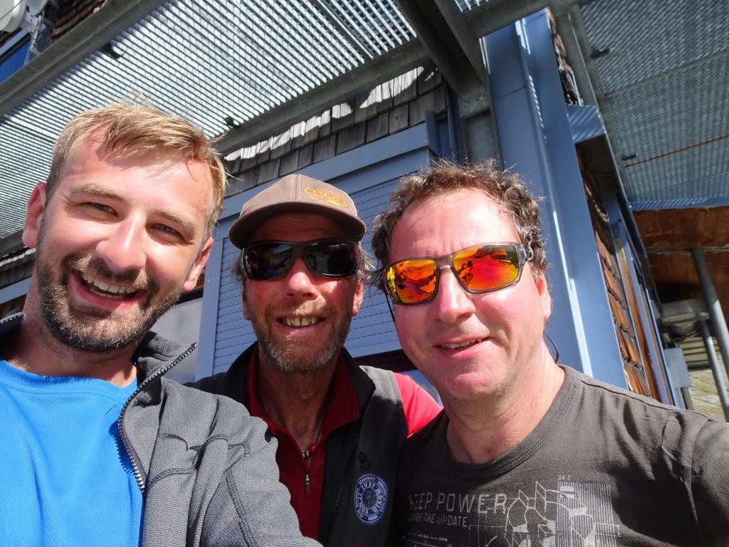Stefan, Werner (mountain guide) and Hannes back at the Stüdlhütte