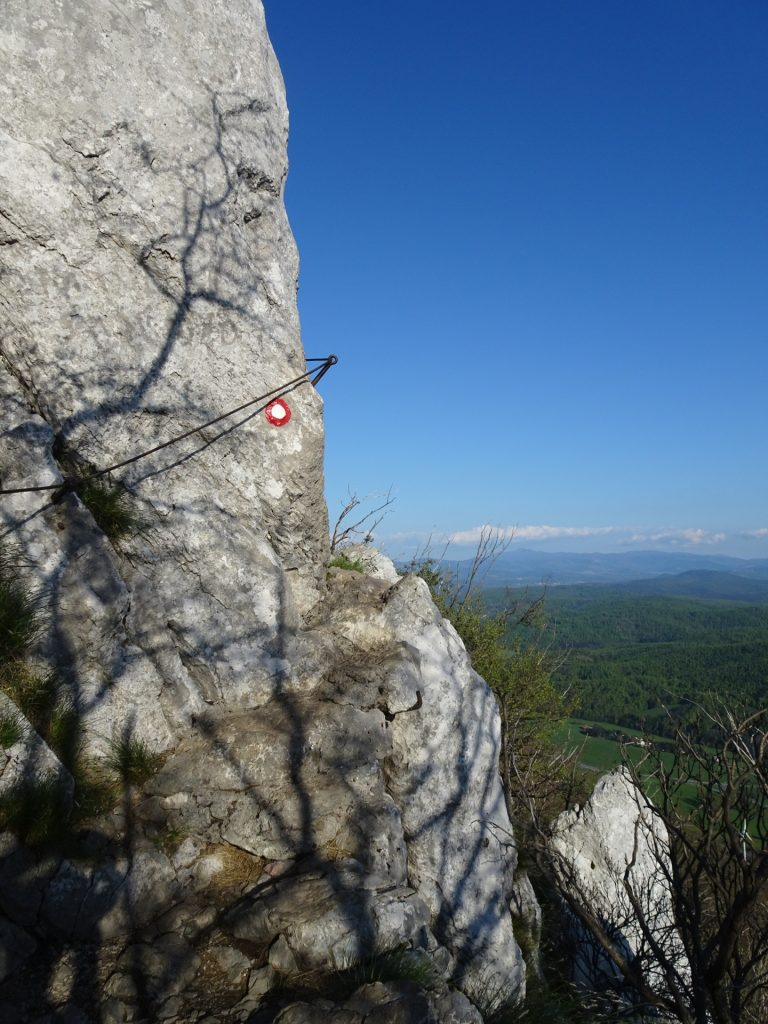 Exposed traverse on the trail