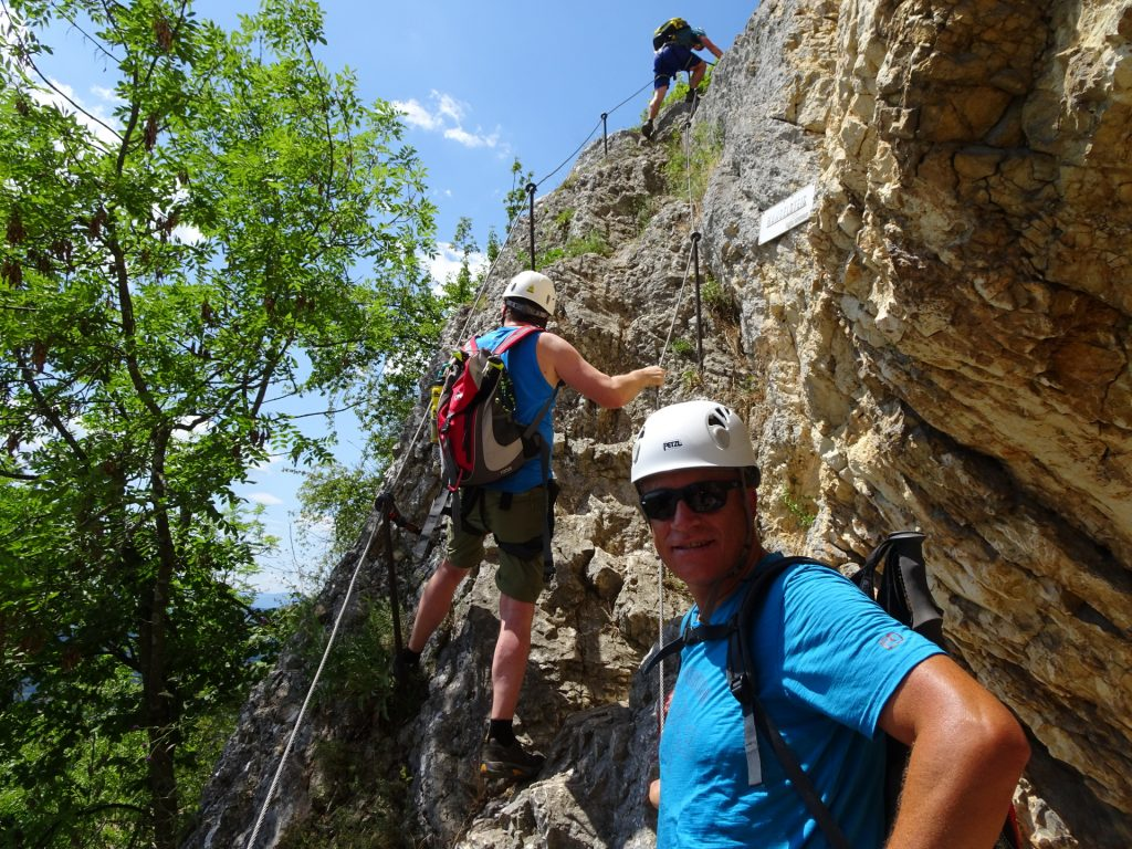 Robert, Hannes and Werner climbing up the Hanslsteig