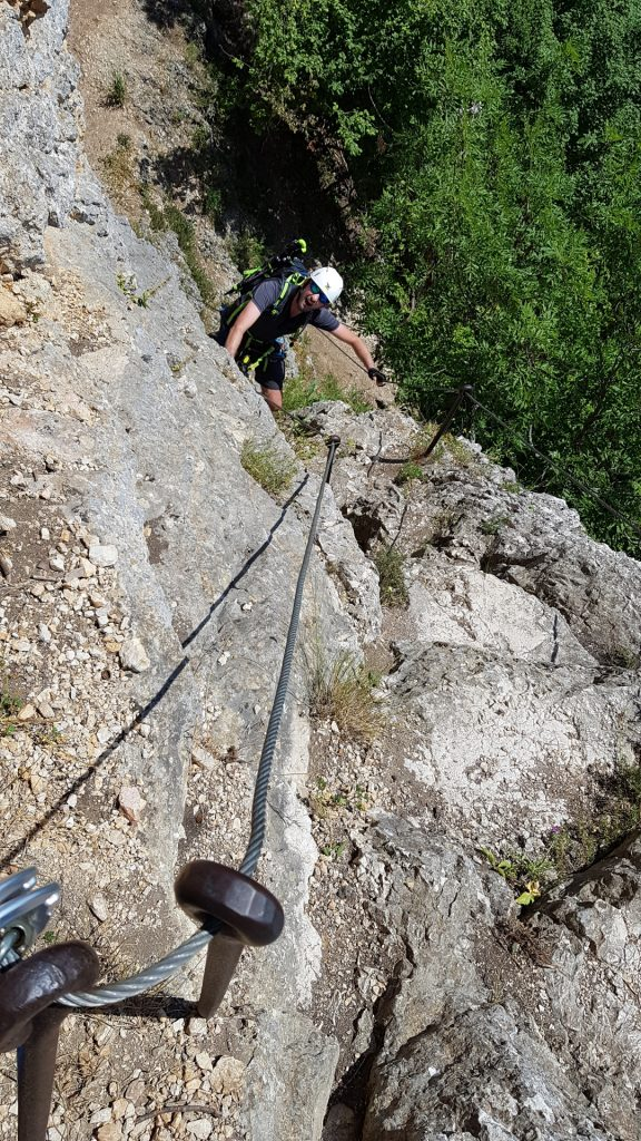 Stefan climbing up the Hanslsteig