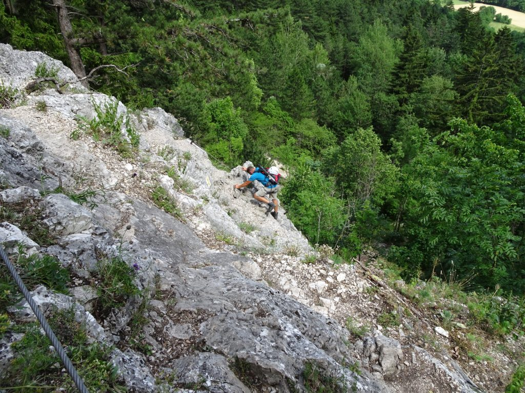 Werner climbing downwards on Leiterlsteig