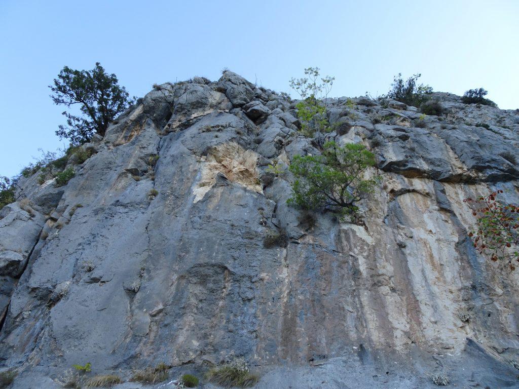 Impressive cliffs next to the trail
