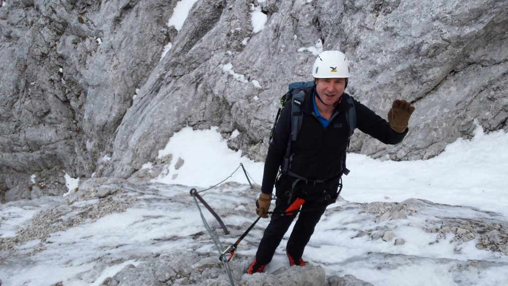 Hannes on the snowy via ferrata