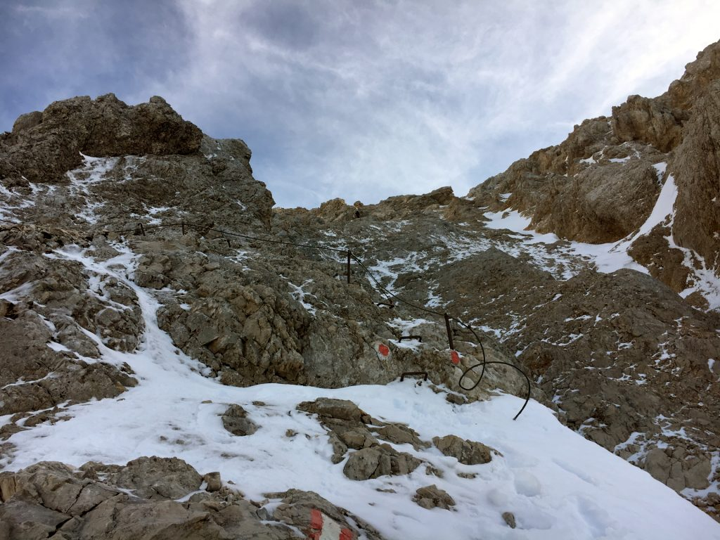 Via ferrata covered in snow and ice