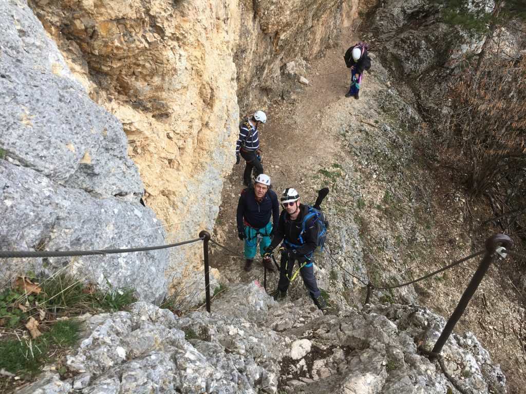 Stefan teaches Nader the basics of Via Ferrata climbing