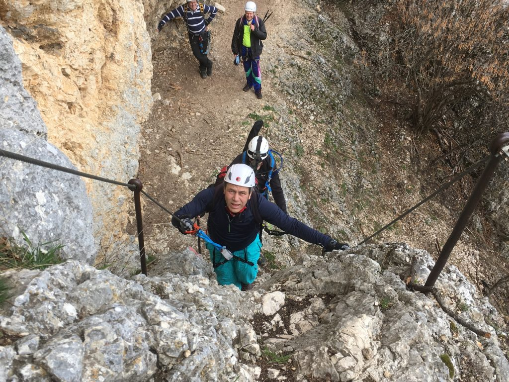 Nader does his first steps on a via ferrata...