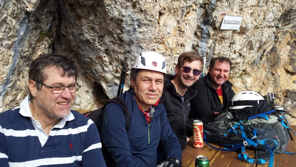 Robert, Nader, Stefan and Hannes enjoying a well-deserved break at Karnitsch Stüberl