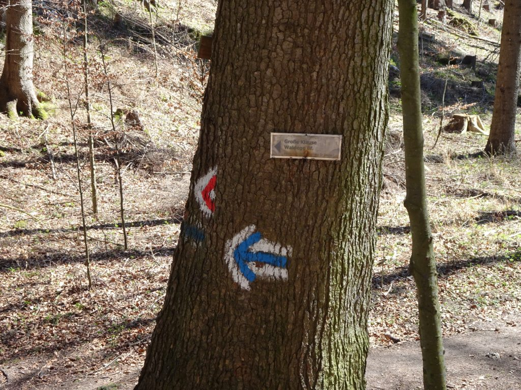 Blue marking towards Waldeggersteig (Große Klause)
