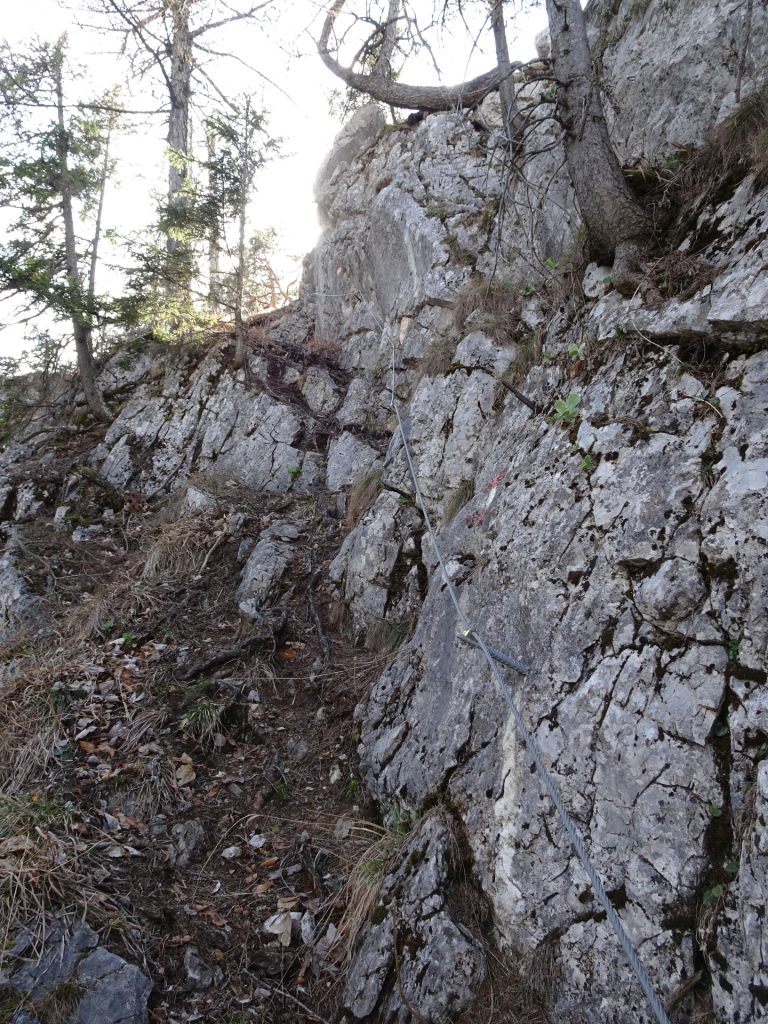 Descending via Rudolfsteig (steeper parts are protected via iron cables)
