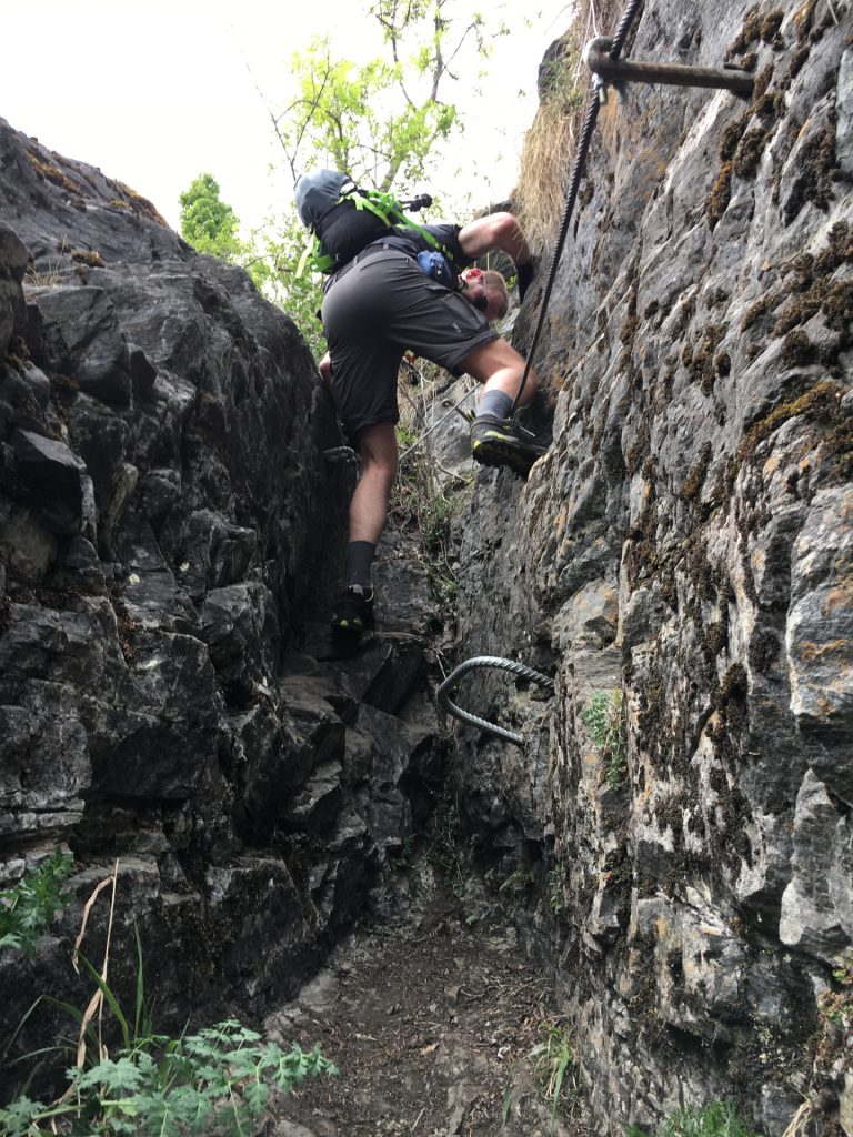 The crux of Vettersteig (simple and short climbing passage)