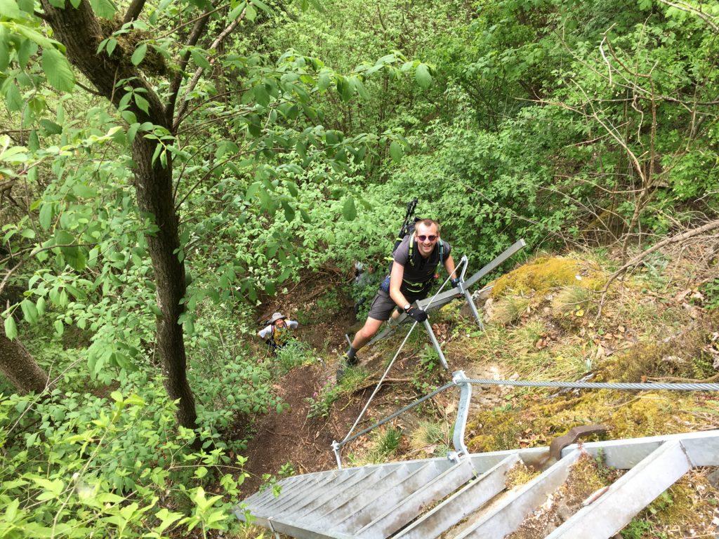 Stefan on the two ladders towards Teufelskirche