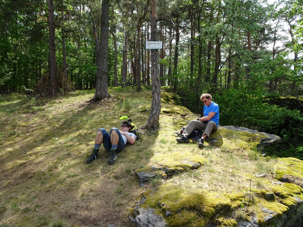 Robert and Hannes rest at Teufelsrast (devil's rest)
