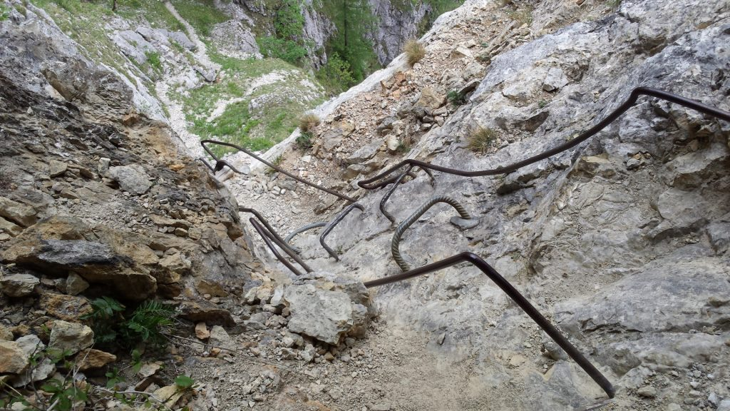"Ladder and rungs leading towards ""Teufelsbadstube"""