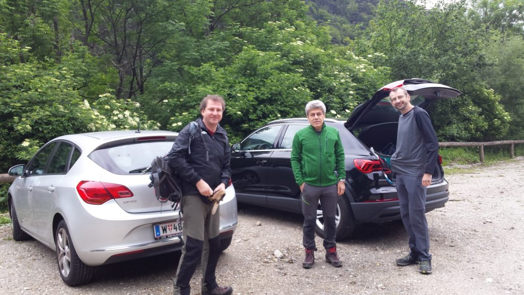 Hannes, Nader, Stefan at the cable car parking (leaving one car here)