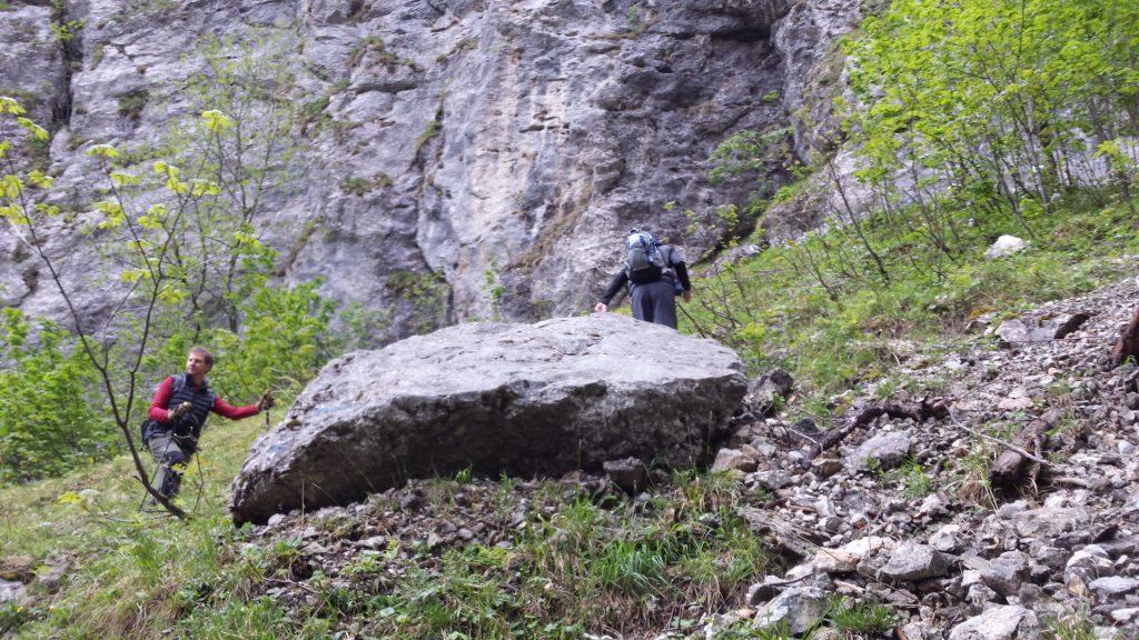 Hannes and Stefan hiking up towards the begin of Alpenvereinssteig