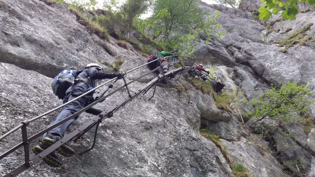 The iron ladder at the begin of Alpenvereinssteig