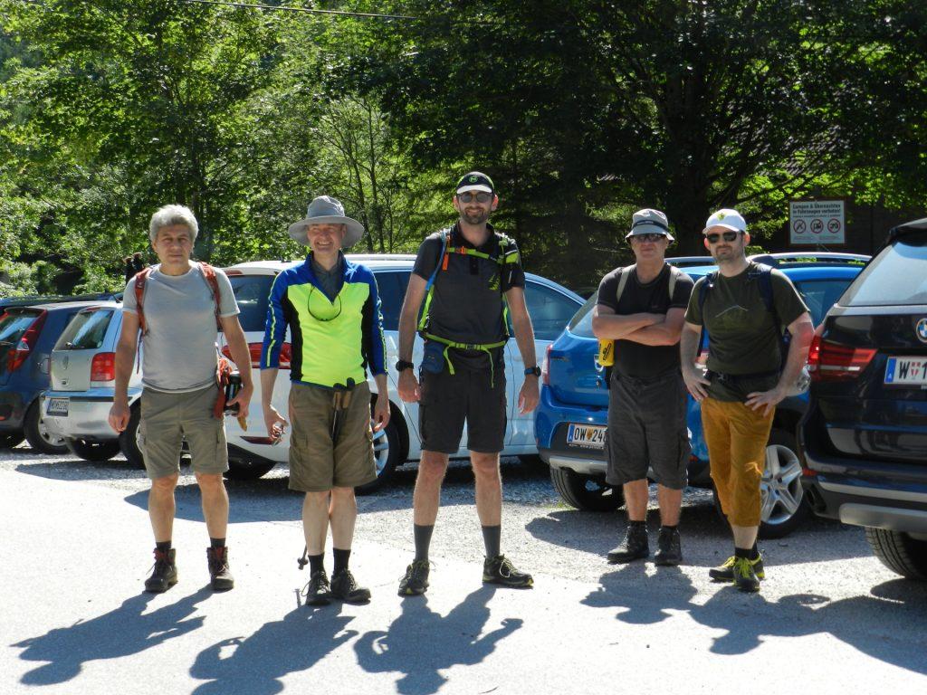 The team (Nader, Herbert, Stefan, Robert, Predrag) at the parking photographed by Hannes