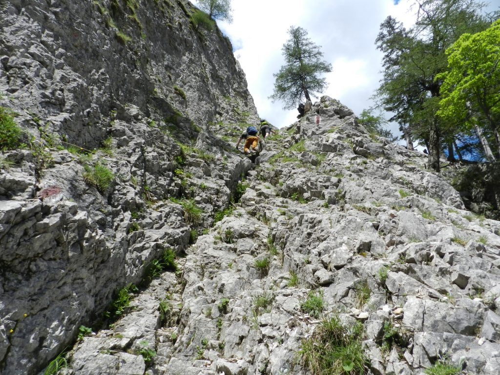 Stefan and Predrag take the lead and climb up (I-) to the first part of the ferrata