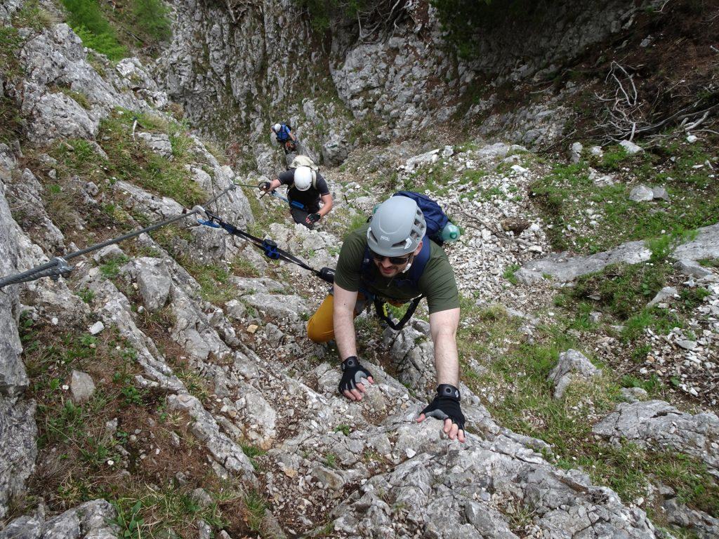Predrag climbing up the Bärenlochsteig