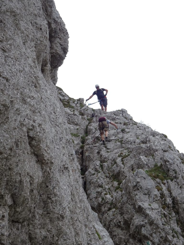Towards the exit of the via ferrata, some parts need to be climbed downwards