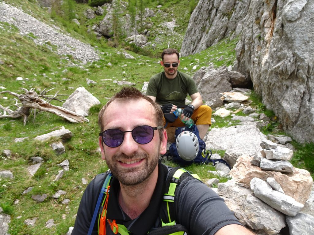 Break at the end of the ferrata and waiting for the others