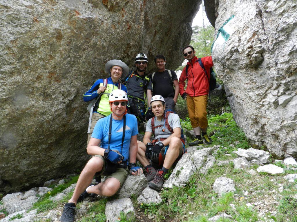 "The team (Hannes, Nader, Herbert, Stefan, Robert, Predrag) posing at the ""Tor"""