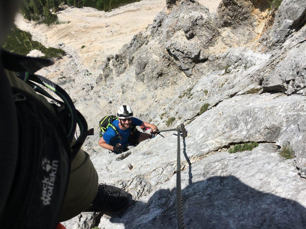Stefan follows climbing up the steep part of the lower Haidsteig