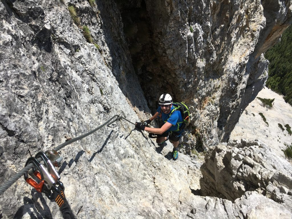 Stefan climbs up on the lower Haidsteig