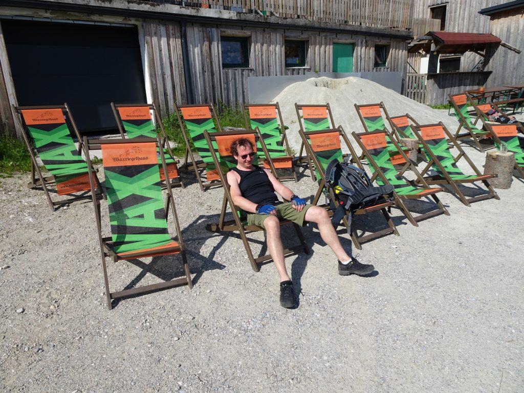 Hannes enjoys a well-deserved break at the Waxriegelhaus