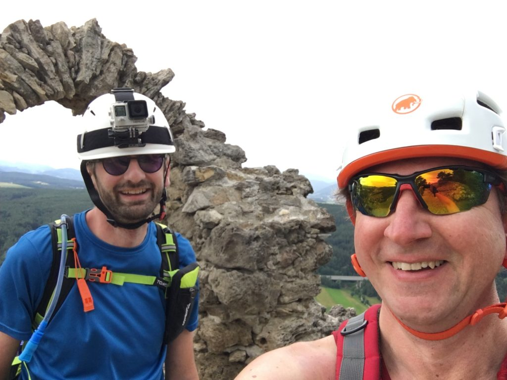 """Stefan and Hannes at the exit of the """"Pittentaler Steig"""""""