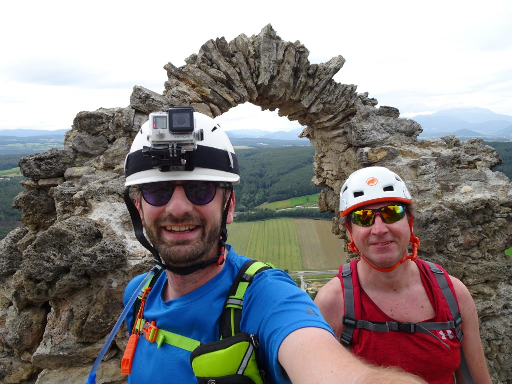 """Stefan and Hannes at the exit of the """"Pittentaler Steig"""" (the ruin of Türkensturz)"""