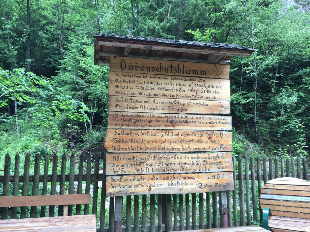 Information board at the entrance of Bärenschützklamm