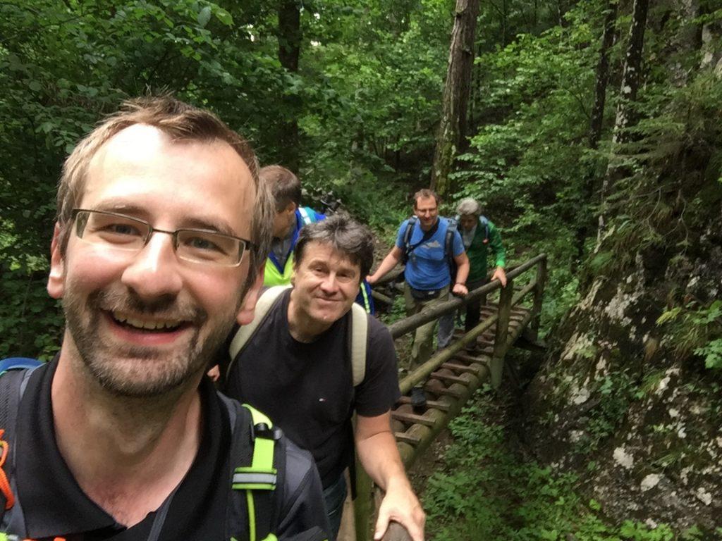 Stefan, Robert, Herbert, Hannes and Nader enjoying the trip at the Bärenschützklamm